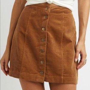 Forever 21 Button Front Corduroy Mini Skirt Sz Med
